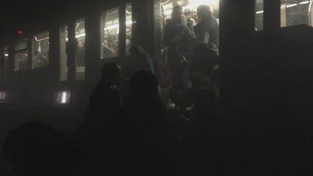 Passengers evacuating train in Belgian metro tunnel