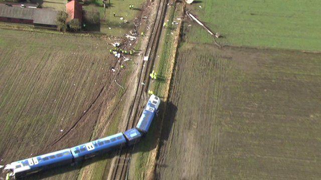 Aerial view of train crash