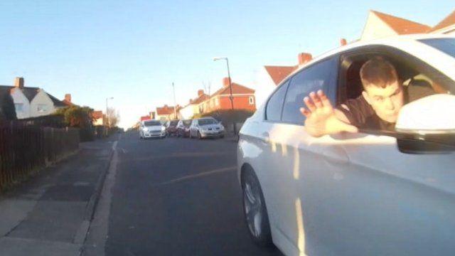 Helmet cam footage of incident