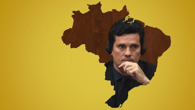 Graphic illustration of Sergio Moro inside a map of Brazil on a yellow background