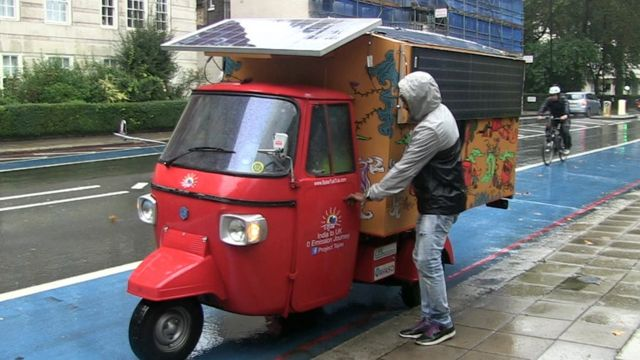solar powered tuk tuk completes india to uk trip bbc news. Black Bedroom Furniture Sets. Home Design Ideas