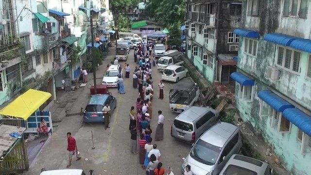 Queue at polling station in Myanmar