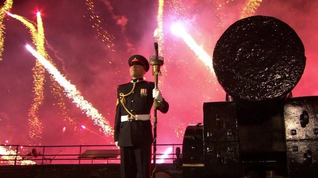 Soldier and fireworks