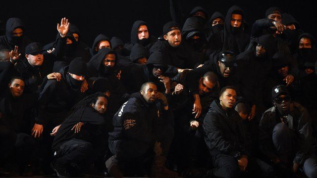 Kanye West on stage at Brit Awards 2015 with UK grime artists