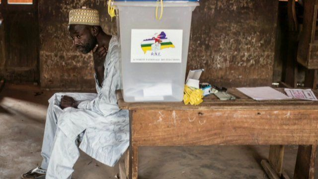 Man beside ballot box in the CAR