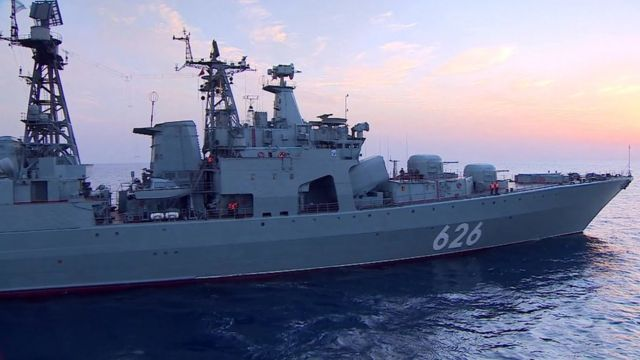 A Russian destroyer based off the coast of Syria.