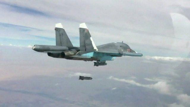 Russian plane drops bomb over Syria