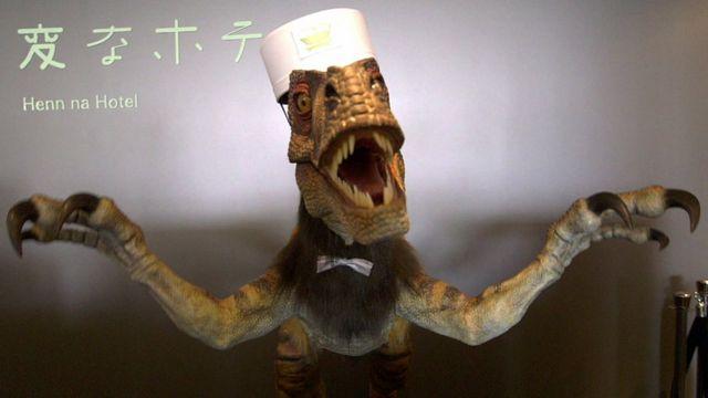 An English-speaking robotic dinosaur receptionist at the Henn na hotel