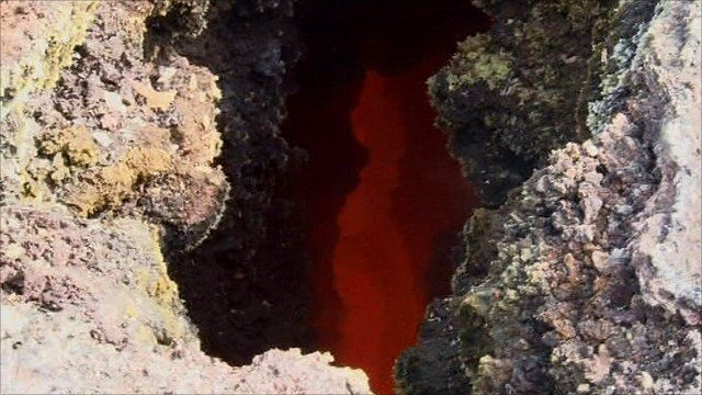 Lava stream just under the surface of Iceland's Eyjafjallajokull volcano