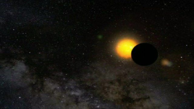 Computer generated image of what planetary system might look like