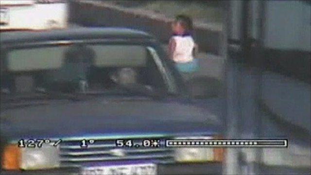CCTV of traffic avoiding the toddler