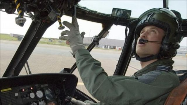 Prince William at the controls Picture: MoD