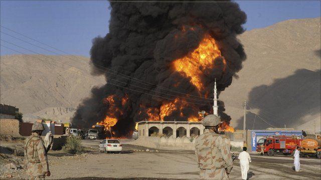 Burning oil tanker
