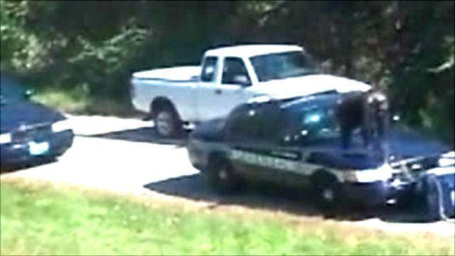 Chimp on police car