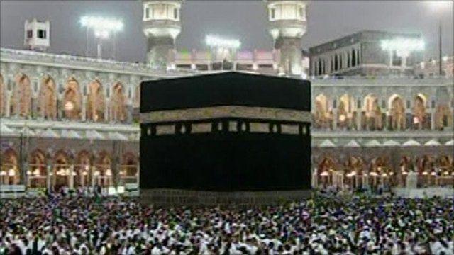 Pilgrims circling the sacred Kaaba stone