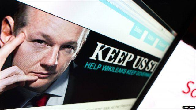 Screenshot showing Wikileaks website displaying founder Julian Assange