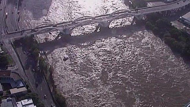 Flooded river in Brisbane
