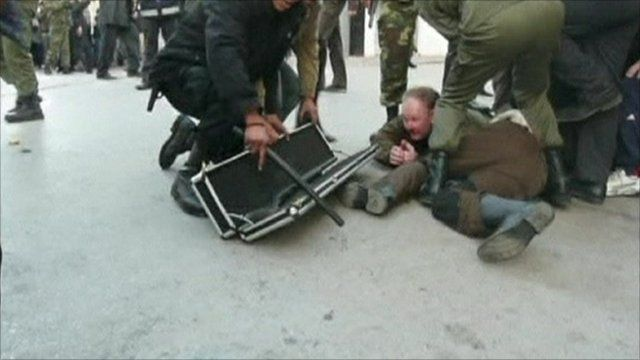 Ove Oberg being beaten