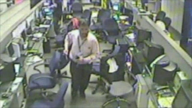 Man rushes to exit newsroom