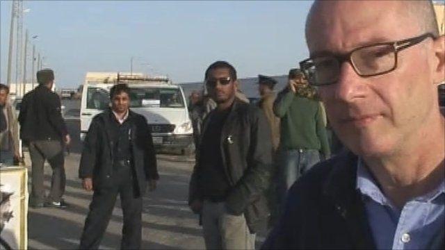 Jon Leyne at Tunisia Libya border