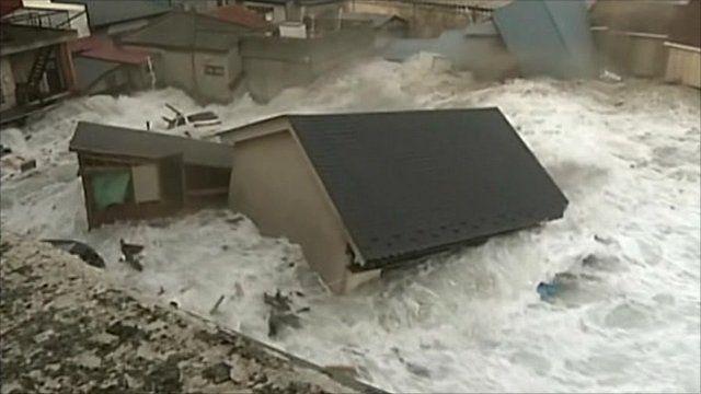 Tsunami reaching Miyako City, Iwate Prefecture