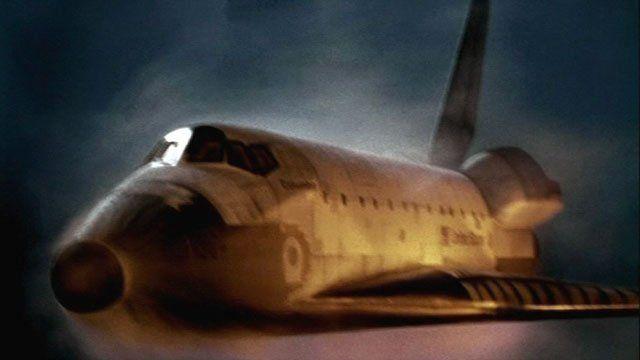 Artist's impression of shuttle re-entering atmosphere