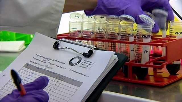 Blood samples in a laboratory