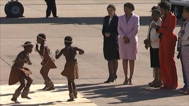 Dancers greet the Obamas in Botswana