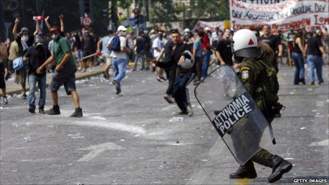 Demonstrators clash with police in Athens