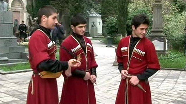 Boys wearing the Chokha, Georgian national costume