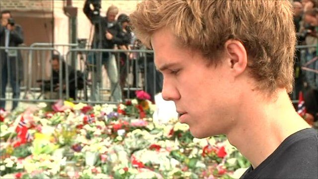 Survivor of the massacre on Utoeya island paying his respects