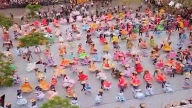 Hundreds of dancers took the floor.