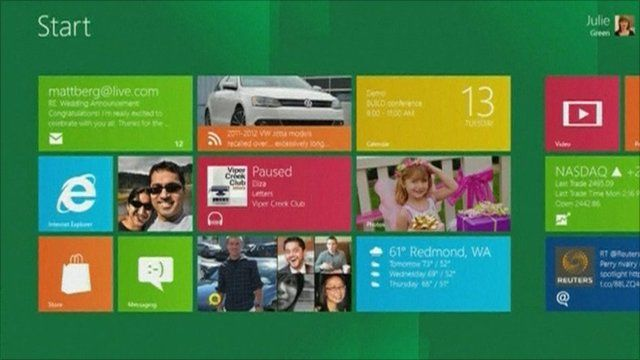 The start menu on Windows 8