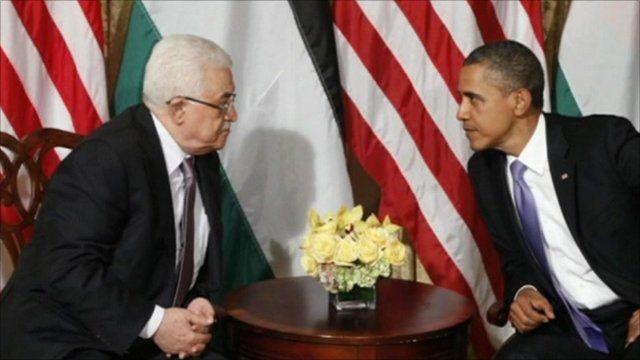 Palestinian President Mahmoud Abbas and US President Barack Obama
