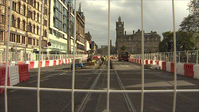 Work on tram lines in Edinburgh