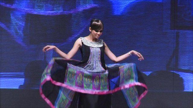 Pakistani model performs at Karachi Fashion Week