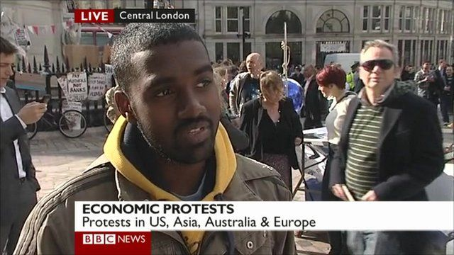 A protester explains the reasons for the demonstration.