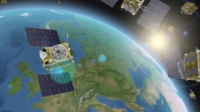 Animation of Galileo satellites in orbit around Earth