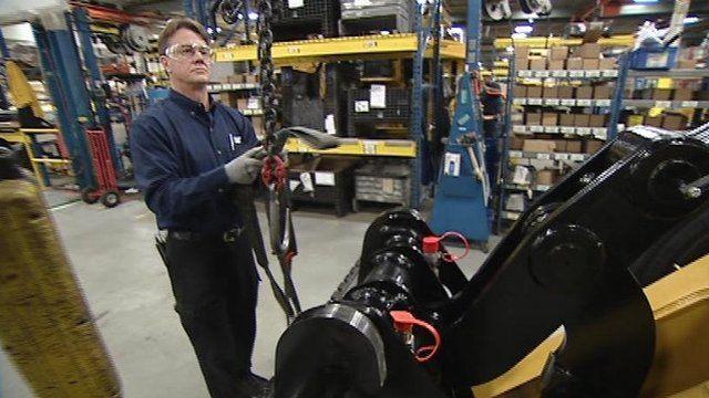Worker in Caterpillar factory