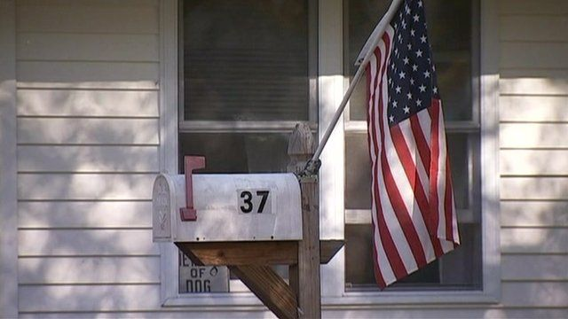 American flag on mailbox