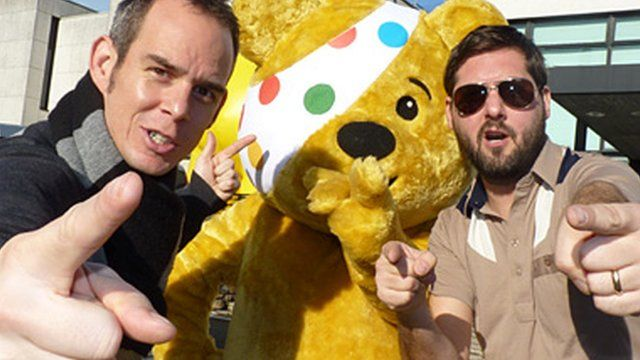 Rhys and Eggsy with Pudsey