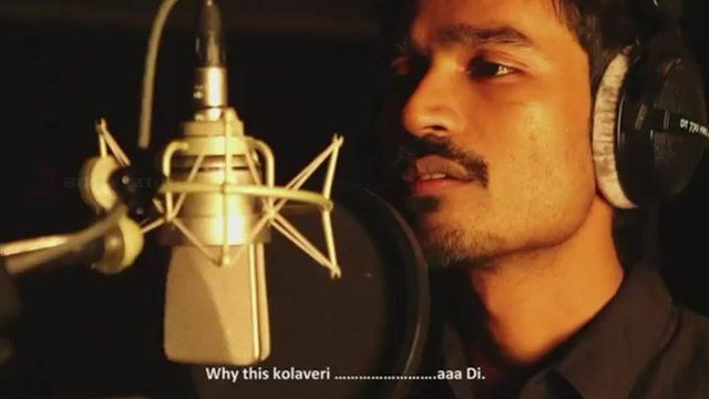 "Tamil actor Dhanush singing his ""nonsense"" song"