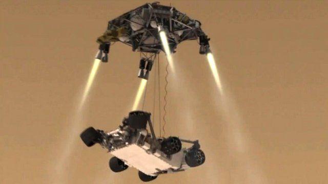 Curiosity descending to Mars