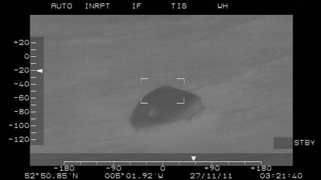 RAF search and rescue footage of life raft