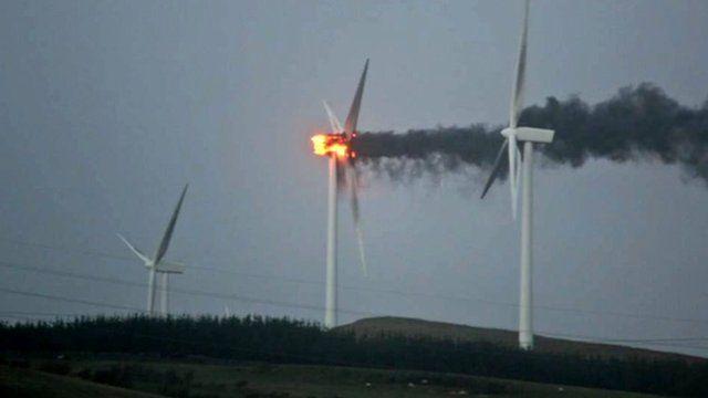 Storm Caused Wind Turbine Fire Bbc News
