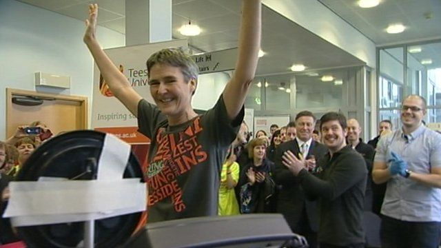 Sharon Gayter celebrates completing seven days of running