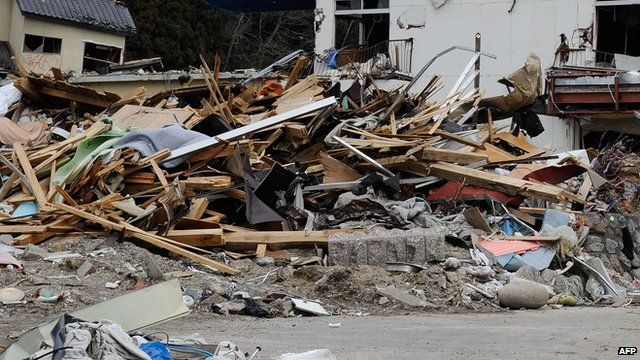 debris in Japan after the earthquake