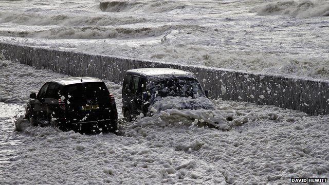 Foam drifts in the seaside town of Cleveleys