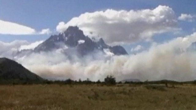 Smoke clouds in Torres del Paine national park