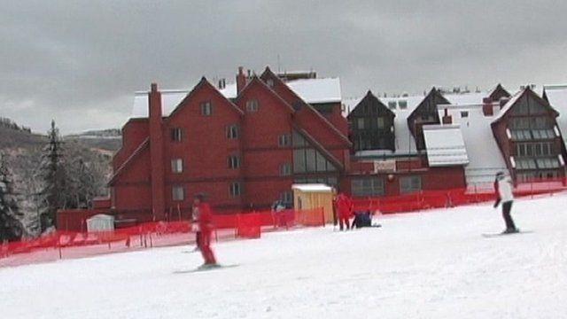 Skiers in Park City, Utah